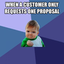 When a customer only requests one proposal